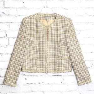 KATE HILL Taupe Blend Tweed Blazer Jacket, Size 12